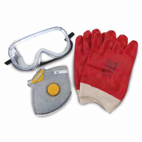 Sada ochranných pomůcek: rukavice, brýle a maska.